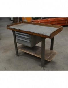 Banco de trabajo madera con cajón